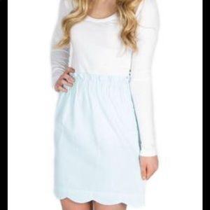 Lauren James Seersucker Scalloped Skirt